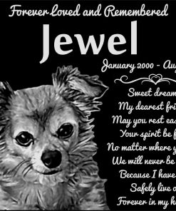 """Personalized Long Haired Chihuahua Dog Pet Memorial 12""""x10"""" Engraved Black Granite Grave Marker Head Stone Plaque JWL1"""
