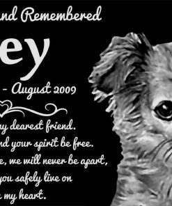 """Personalized Long Haired Chihuahua Dog Pet Memorial 12""""x6"""" Engraved Black Granite Grave Marker Head Stone Plaque JOE1"""