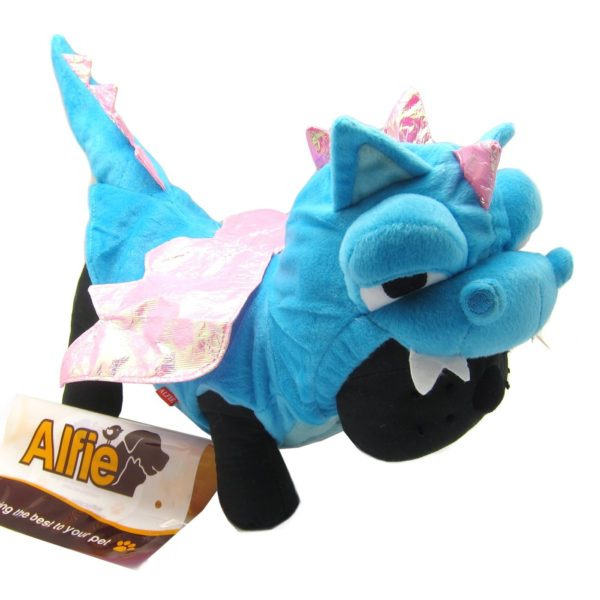 Alfie Couture Designer Pet Apparel - Smokie the Dragon Dinosaur Costume Blue