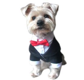 Alfie Pet by Petoga Couture - Oscar Formal Tuxedo with Black Tie and Red Bow Tie 2