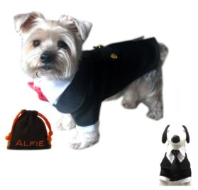 Alfie Pet by Petoga Couture - Oscar Formal Tuxedo with Black Tie and Red Bow Tie