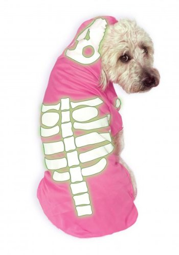 Rubies Costume Company Glow-in-The-Dark Skeleton Hoodie for Pets, Small, Pink