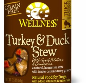 Wellness Natural Grain Free Wet Canned Dog Food, Turkey and Duck Stew with Potatoes and Cranberries, 12.5-Ounce Can (Pack of 12)