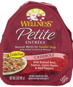 Wellness Petite Entrees Casserole Natural Grain Free Wet Dog Food Beef & Salmon Recipe, 3-Ounce Can (Value Pack of 24)