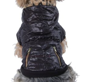Anima Bubble Jacket with Fur Trim Hood, X-Small, Black
