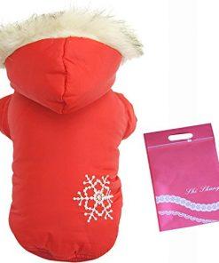 Bestruby Brown Snow Print Cotton Pet Dogs Winter Coat 2