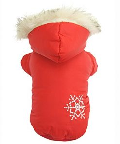 Bestruby Brown Snow Print Cotton Pet Dogs Winter Coat
