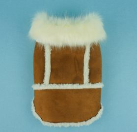 Fitwarm Faux Shearling Pet Jacket for Dog Winter Coats Hooded Clothes Brown 2
