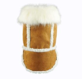 Fitwarm Faux Shearling Pet Jacket for Dog Winter Coats Hooded Clothes Brown