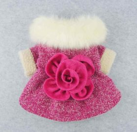 Fitwarm High Quality Elegant Pink Floral Faux Furred Dog Coats Pet Clothes Winter Dresses 2