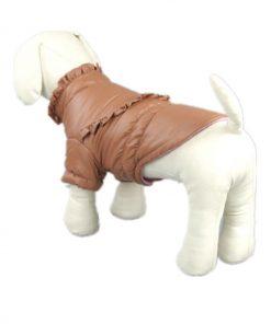 Pet Dog Clothing Winter Leather Jacket Coats Waterproof Chihuahua Bulldog Pitbull (Khaki, XS) 2