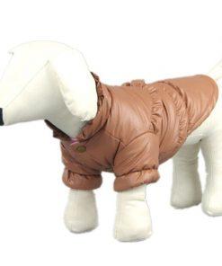 Pet Dog Clothing Winter Leather Jacket Coats Waterproof Chihuahua Bulldog Pitbull (Khaki, XS)
