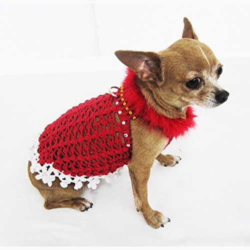 Red Fancy Dog Dress Feather White Christmas Pet Costume Handmade Crochet  Cotton Puppy Clothing Chihuahua Dresses Unique Cute Df10 By Myknitt – Free  Shipping - Red Fancy Dog Dress Feather White Christmas Pet Costume Handmade