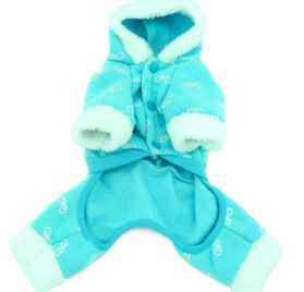 SMALLLEE_LUCKY_STORE Pet Small Dog Cat Clothes Warm Fleece ANGEL Hoodies Jacket Coat Jumpsuit Outfits Blue S 2
