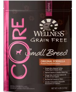Wellness CORE Natural Grain Free Dry Dog Food, Small Breed Health Turkey & Chicken Recipe, 4-Pound Bag