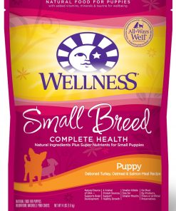 Wellness Complete Health Natural Dry Dog Food, Small Breed Puppy Health Turkey, Oatmeal & Salmon Recipe, 4-Pound Bag