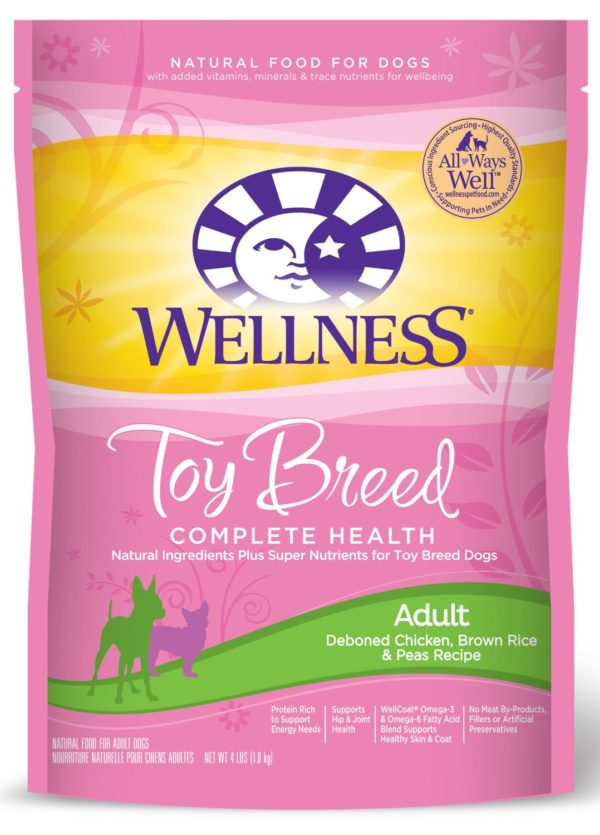 Wellness Complete Health Natural Dry Dog Food, Small Toy Breed Chicken, Brown Rice & Peas Recipe, 4-Pound Bag