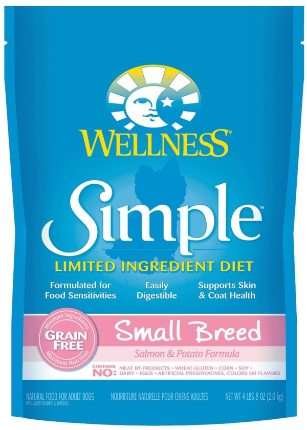 Wellness Simple Natural Grain Free Limited Ingredient Dry Dog Food, Small Breed Salmon & Potato Recipe, 4.5-Pound Bag