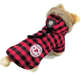 eSingyo English-Style Plaid Cotton Warm Winter Coat Jumper Hoodie Hooded Jacket Small Pet Dog Clothes Red S 2