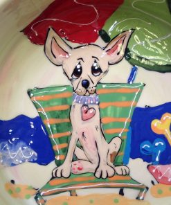 6 Chihuahua Dog Bowl for Food or Water. Personalized at no Charge. Signed by Artist, Debby Carman. 2