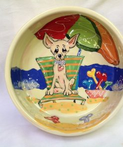 6 Chihuahua Dog Bowl for Food or Water. Personalized at no Charge. Signed by Artist, Debby Carman.