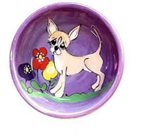 6 Personalized Chihuahua Dog Bowl for Food or Water. Personalized at no Charge. Signed by Artist, Debby Carman.