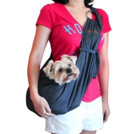 Alfie Pet by Petoga Couture - 3-Piece Dog Park Bundle Chico 2.0 Revisible Pet Sling Carrier, Microfiber Fast-Dry Towel, Rosh Collapsible Travel Bowl - Color Denim Sling, Orange Bowl 2