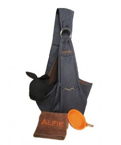 Alfie Pet by Petoga Couture - 3-Piece Dog Park Bundle Chico 2.0 Revisible Pet Sling Carrier, Microfiber Fast-Dry Towel, Rosh Collapsible Travel Bowl - Color Denim Sling, Orange Bowl