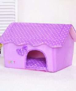 BOSUN(TM) Cute Folding Small Pet Dog House Soft Foams Padded Puppy Bed Pens Dot Printing Detachable Dog Kennels For Chihuahua