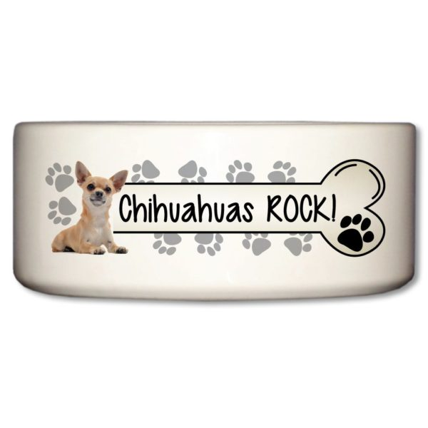 Ceramic Dog Bowl - Chihuahuas Rock