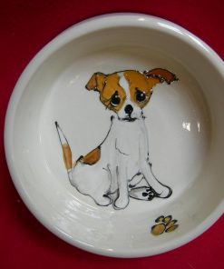 "Chihuahua 6"" Deep Dish Ceramic Dog Bowl for Food or Water. Personalized at no Charge. Signed by Artist, Debby Carman."