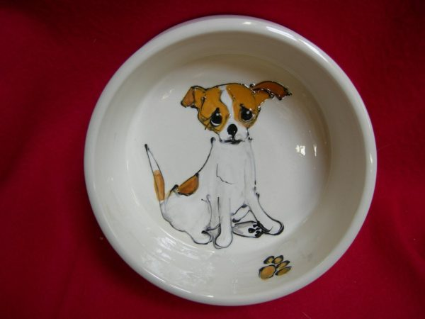 """Chihuahua 6"""" Deep Dish Ceramic Dog Bowl for Food or Water. Personalized at no Charge. Signed by Artist, Debby Carman."""