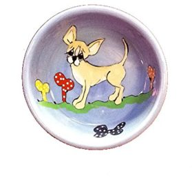 Chihuahua 6 Dog Bowl for Food or Water. Personalized at no Charge. Signed by Artist, Debby Carman.