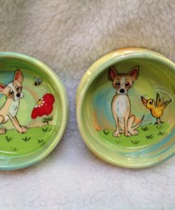 Chihuahua 8-6 Pet Bowls for FoodWater. Personalized at no Charge. Signed by Artist, Debby Carman.