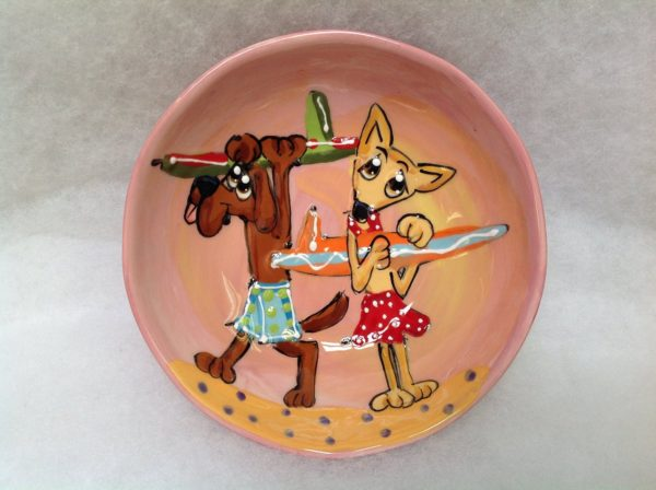 Chihuahua 8 Ceramic Dog Bowl for Food or Water. Personalized at no Charge. Signed by Artist, Debby Carman.