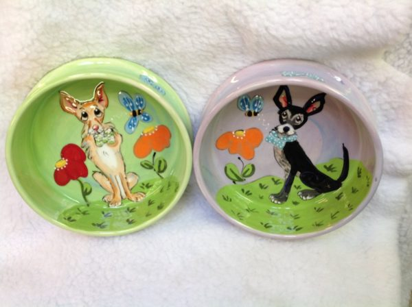 Chihuahua 8 and 6 Pet Bowls for Food and Water. Personalized at no Charge. Signed by Artist, Debby Carman.