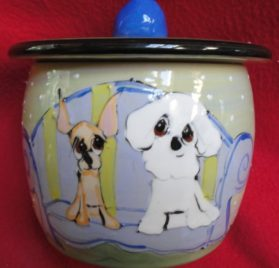 Chihuahua Treat Jar. Personalized at no Charge. Signed by Artist, Debby Carman.