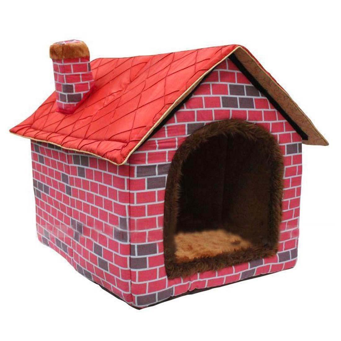 Culon Warm Indoor Soft Kennel Pet Big Dog House Red