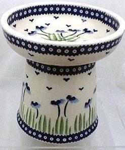 Polish Pottery Raised Dry Food Dish Cat Dog RMAN Blue Poppies 2