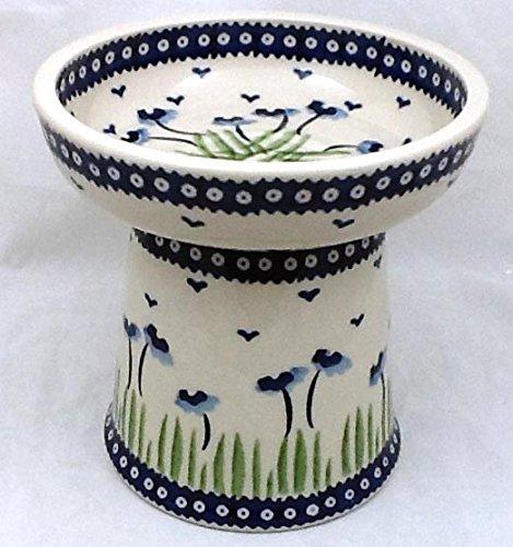 Polish Pottery Raised Dry Food Dish Cat Dog RMAN Blue Poppies 3