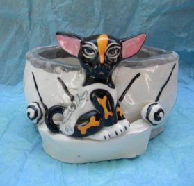 WhimsiClay Hand made Chihuahua Bowl