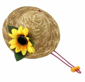 Beautiful 3D Sunflower Handcrafted Woven Straw Pet Hat Costume Cat Dog Hat Toy Hat Novelty Cosplay Farmer Hat w Adjustable Chin String