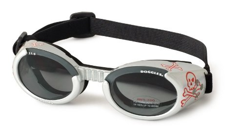 Doggles ILS Dog Goggle sunglasses with Skull and Crossbones - Smoke Lens Extra Small