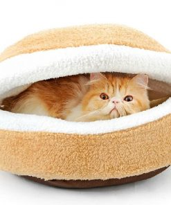 Hoopet® Hamburger- Burger Design Pet House Shell Shaped Washable Pet Bed Thicker Soft Warm Dog House Cotton Cat Sleeping Bag with Waterproof Bottom (Size S)