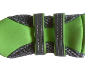 Lonsuneer Puppy Daily Soft Sole Nonslip Mesh Boots, with 2 Long and Safe Reflective Velcro Straps, Breathable and Cool, Inner Width 1.6 Inch, Set of 4, Bright Green 2