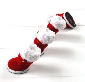 Red Xmas Style Pet Dog Cotton Snow Shoes Suede Boots 2