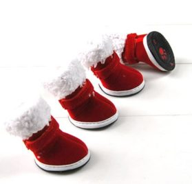 Red Xmas Style Pet Dog Cotton Snow Shoes Suede Boots