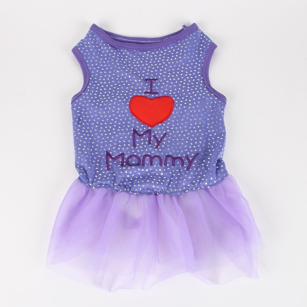 Commoditier Blue Dots I Love My Mommy Puppy Dress Cute Dresses