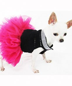 Cute Black Pink Dog Tutu Dresses with Bling-bling Handmade Crochet Pet Clothes Puppy Clothing Celebrity Chihuahua Dress Df12 By Myknitt - Free Shipipng 2