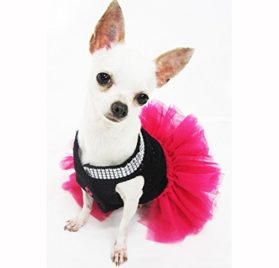 Cute Black Pink Dog Tutu Dresses with Bling-bling Handmade Crochet Pet Clothes Puppy Clothing Celebrity Chihuahua Dress Df12 By Myknitt - Free Shipipng